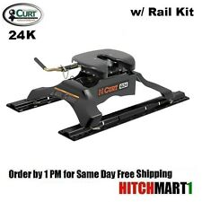 24K CURT Q24 5TH FIFTH WHEEL TRAILER HITCH W/ RAIL & INSTALLATION  KIT  16246