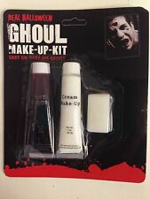 BIANCO VAMPIRO MAKE UP CREMA & fake blood Inc SPUGNA Dracula Halloween Horror KIT