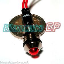 """SPIA LED ROSSO 220V AC METALLO """"TONDO"""" 8mm corrente alternata casa illuminazione"""