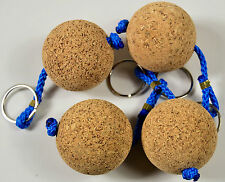 Cork Wooden ball 4 pack Keyring floating present gift float holiday water sports