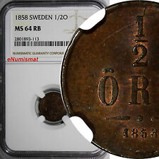New listing Sweden Oscar I Bronze 1858 1/2 Ore Ngc Ms64 Rb Red Brown Km# 686