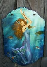 "14"" Rustic Slate Mermaid Sea Siren Picture Hanging Wall Plaque-Beach/Home Decor"