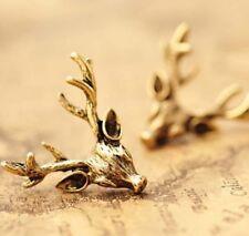 Vintage Earings Retro Bronze Deer Antlers Earrings Elegant Ear Stud Earings  LD
