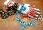 "Beads NETTING 5.5"" Brass Stones DESIGNER APPLIQUE CUFF Yoke 1pc Hand Sewn"
