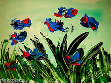BLUE POPPIES-  MODERN ABSTRACT ORIGINAL OIL PAINTING BY KAZAV e45yy3