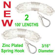 "2 NEW 100' SOLID BRAID 3/16"" NYLON ANCHOR LINE,MARINE BOAT DOCK ROPE,WHITE"