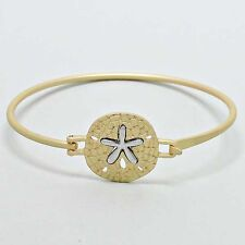 Sand Dollar Bangle Bracelet MATTE GOLD Clasp Sealife Beach Starfish Ocean Surf