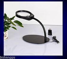 Touch Switch 36 LED Lighted 10x Table Desk Top Magnifying Glass Magnifier Lamp