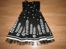 The Vestry Ladies Beaded Strapless Dress Black & Ivory Net Underskirt Size 10