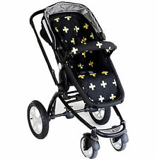 Bambella Pram Liner + Strap Covers Universal Fit GOLD CROSS