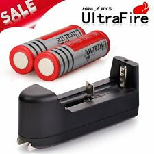 NEW 2PC 4000mAh 3.7V 18650 Rechargeable Li-ion Batteries+Universal Charger USA