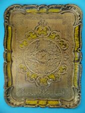 Antique Victorian Paper Mache Tray Gold / Yellow Pattern Rare