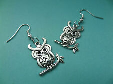 NEW! Cute big eyed owl - Tibetan Silver Earrings - in Organza bag - Vintage...