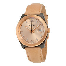Fossil Perfect Boyfriend Champagne Dial Tan Leather Ladies Watch ES3777