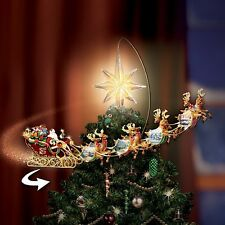 HOLIDAY THOMAS KINKADE MOVING & LIGHTED CHRISTMAS TREE TOPPER NEW
