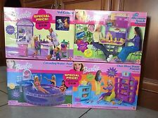 4 Sealed 2001 Barbie Playsets : Chic Shoe Store, Vet Center, Cascading Pool