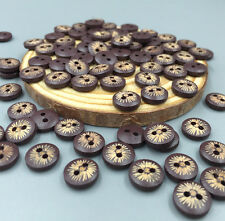 100pcs mini Deep Brown Round 2-Holes Wooden Buttons Sewing  Scrapbooking 10mm