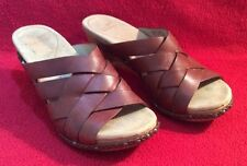 DANSKO Sandals Brown Strappy Leather Tops Wood Heels Size Euro 37 US 7-7.5