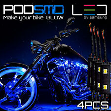 Blue Motorcycle LED Lighting Strips Kit Engine-Bay Flexible Bright 12V Powered