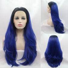 "24"" Heat Resistant Lace Front Wig Synthetic Hair Straight Black And Blue"