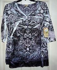 NWT $68 ONE WORLD - ANIMAL/SUBLIMATION-PRINT VELOUR TOP - WOMANS 1X