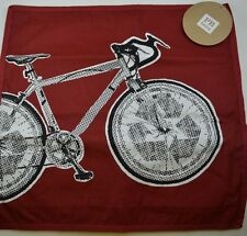 """POTTERY BARN TEEN BIKE COOL FACTOR PILLOW COVER 18"""" RED BICYCLE  #236"""
