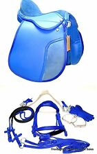 "D.A. Brand 12"" Blue Synthetic 6 Piece English Saddle Set  Horse Tack Equine"