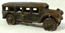 "VINTAGE-CAST IRON-TOY BUS-1930's STYLE PASSENGER-TOURING-3 1/2"" L-GREAT PATINA!"