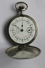 Antique Pocket Watch  24 hours dial  CHRONOMETRE  ALFRED MAGNIN  made of silver