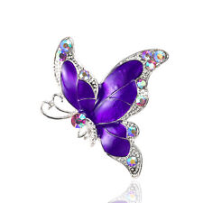 Beautiful Purple Butterfly Corsage Decoration Evening Brooch Pin BR343