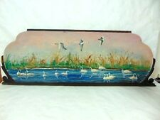 VINTAGE VICTORIAN STYLE OIL PAINTING OF SWANS ON A POND ARTIST SIGNED DONA MARIA