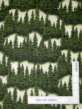 Rows of Forest Pine Trees on Cream Cotton Fabric Riverwoods Sport Fishing ~ Yard