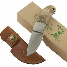 Elk Ridge Burl Wood Mini Hunter Fixed Blade Knife ER111 Hunting Full Tang Sheath
