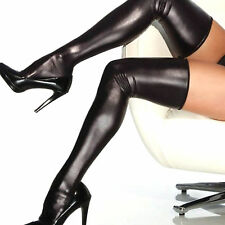 Sexy Women comfortable Thigh-high Stockings Leather material long black socks