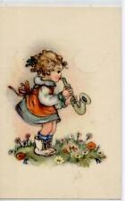 Bambina con Sassofono Musica Childrens Girl w Sax PC circa 1940 Italy Bambini 2