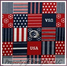 BonEful FABRIC FQ Cotton Quilt Patchwork USA Red White Blue Star Stripe US Block