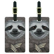 Sloth Face Luggage Suitcase Carry-On ID Tags Set of 2