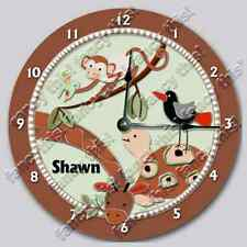 ZANZIBAR Personalized Nursery Wall Clock includes Giraffe Turtle Bird Monkey_FT