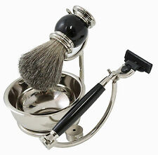 "MENS GIFTS - ""BOND STREET"" SHAVING SET - RAZOR - BRUSH - SOAP DISH - STAND"
