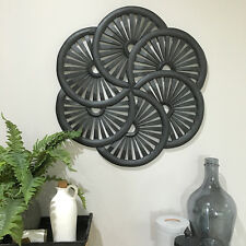 Carved Black Round Wall Panel/Large 60cm/Sculpture/Decorative Wheels Art