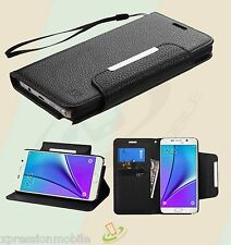 For Samsung Galaxy Note 5 Leather Flip Wallet Case Cover w/ Lanyard Strap BLACK