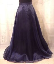 ROBERTA Formal Navy Blue Long Maxi Organza Holiday Evening Skirt XS S Crinoline