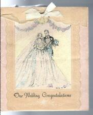 Vintage 1932 Our Wedding Congratulations Greeting Card Ribbon by Bow Rust Craft
