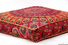 Floor Pillow Cover Square Ottoman Cover Mandala Indian Dog Pet Bed Cushion Case