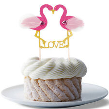 1PC Pink Flamingo Cupcake Topper Cake Pick LOVE Stand Up Wedding Party Decor DIY