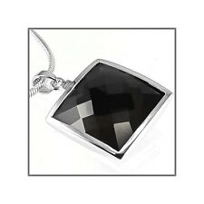 Sterling Silver Square Pendant w/CZ Black 21mm #65343