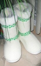 Mudd Sweater-Knit Boot Slippers~ Green / Ivory ~L (9-10 )NWT