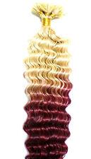 Haarverlängerung Hair Extensions gelockt Ombre Style 40cm Echthaar Strähnen