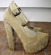 KOI COUTURE Beige Faux Suede Ankle Strap Very High Block Heel Party Shoes Size 4