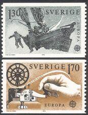 Sweden 1979 Europa/Communications/Sledge Boat/Morse Key/Telecomms 2v set n43518